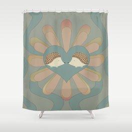 Hedge Hog Flower Power Shower Curtain