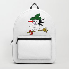 Drawn by hand a lovely witch flying on a broom Backpack