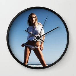 Anzhelika Yakimenko - White Beach Sweater Wall Clock
