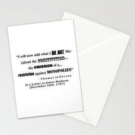 Restriction on Monopolies Thomas Jefferson Quote Stationery Cards