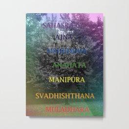 Chakras Maple Tree Word of Yoga Metal Print