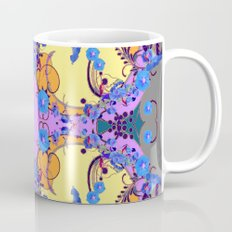 Blue Gold Color Fantasy Scrolls & Flowers Ferns Art Pattern Mug