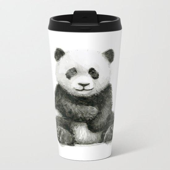 Panda Baby Watercolor Animal Art Metal Travel Mug