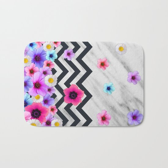 Chevron Pattern with Marble and Flowers Bath Mat