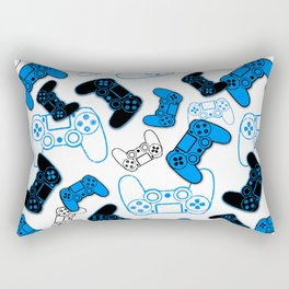 Video Games Blue on White Rectangular Pillow