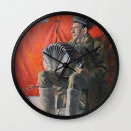 Russian Man Playing Accordion Wall Clock