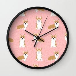 Corgis - Cute corgi, dog pet, corgi decor, corgi pillow, corgi bedding, corgi pattern, cute corgi Wall Clock