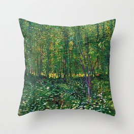Brush and Underbrush flower and forest landscape by Vincent van Gogh Throw Pillow