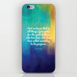 Romans 8:28, Encouraging Scripture iPhone Skin
