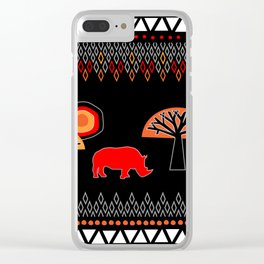 African Rhino (Hot colors) Clear iPhone Case