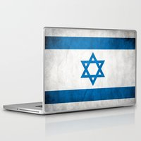 israel Laptop & iPad Skins featuring Israel Flag  by Jason Michael