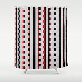 Rectangles Design red black Shower Curtain