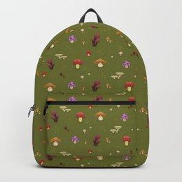 Pixel Mushrooms on Green Backpack