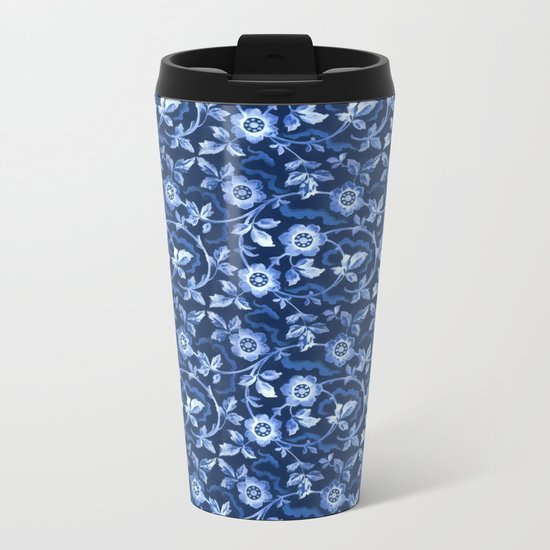 Blue floral pattern Metal Travel Mug