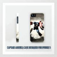 iphone 5 case Art Prints featuring Captain America Case Designed for iPhone 5 by dadostirlo