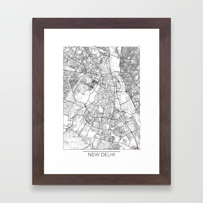 new delhi map white framed art print by hubertroguski society6new delhi map white framed art print