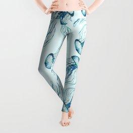 Watercolor Aqua Jellyfish Leggings