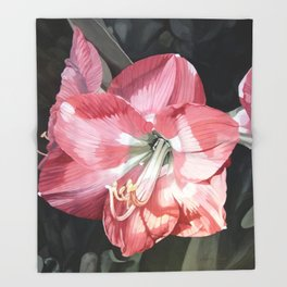Pink Amaryllis Watercolor Botanical Garden Flower Painting Nature Art Throw Blanket