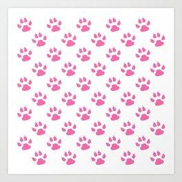 Pink cat paws pattern Art Print
