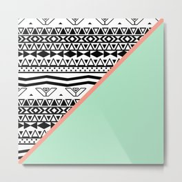 Block | Black White Aztec Pattern Mint Green Color Block Metal Print
