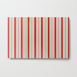 Red Green and White Candy Cane Stripes Thick and Thin Vertical Lines, Festive Christmas Metal Print