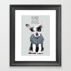Beware of the dog Framed Art Print