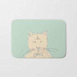 Cartoon cute cat think Bath Mat