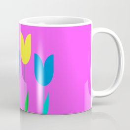Tulips In Spring Time - Blue & Yellow on Bright Pink 3 Coffee Mug