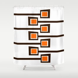 Mid Century Modern Orange and Brown Print on White Shower Curtain