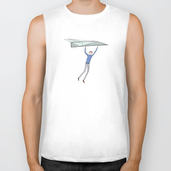 hang on to your paper airplane Biker Tank