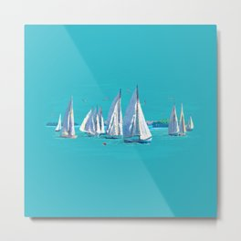 Regatta Day Sailboats Metal Print