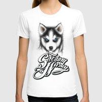 husky T-shirts featuring Siberian Husky by Det Tidkun