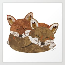 Shelter (Stacked Foxes) Art Print