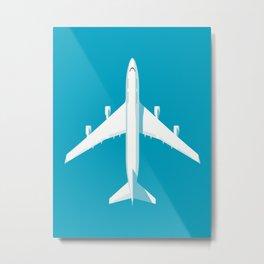 747-400 Jumbo Jet Airliner Aircraft - Cyan Metal Print