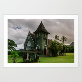 Wai'oli Hui'ia Church Hanalei Kauai Hawaii | Tropical Island Architecture Photography Print Art Print