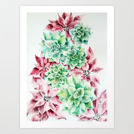 Succulents Christmas tree Art Print