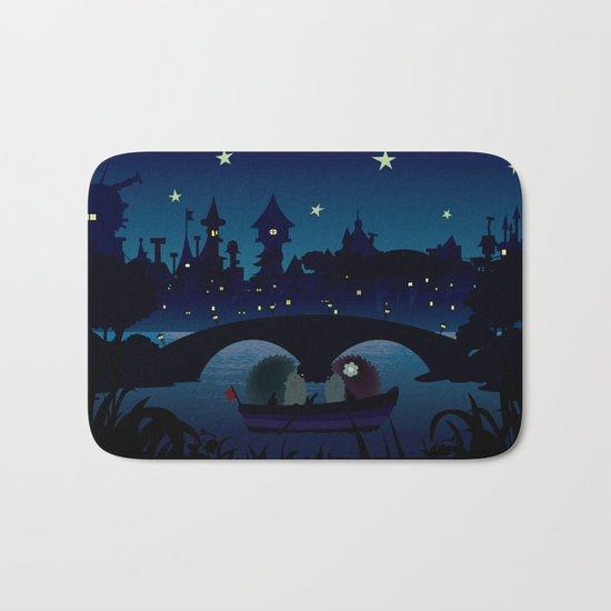 Hedgehogs in the night Bath Mat