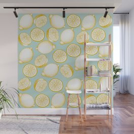 Lemons On Turquoise Background Wall Mural