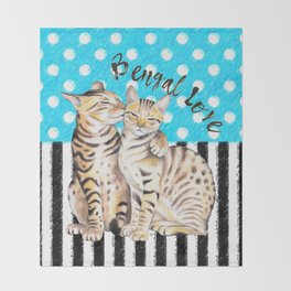 Bengal Cats Polka Dot Watercolor Love Throw Blanket