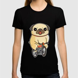Funny Pug Puppy Riding a Bicycle Dog T-shirt