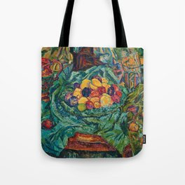 Still life with fruits, jug and small sculpture by Helene Funke Tote Bag