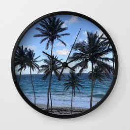 Barbados Beach with Tall Palm Trees Wall Clock