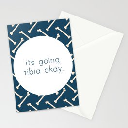 Its Going Tibia Okay - Dem Bones in Blue Stationery Cards