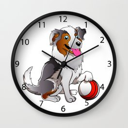Cartoon Dog with ball Wall Clock