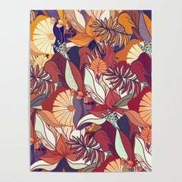 love of autumn - floral pattern Poster