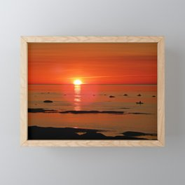 Kayaker and the Setting Sun Framed Mini Art Print