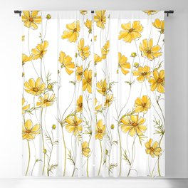 Yellow Cosmos Flowers Blackout Curtain