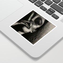 WARNING: CONSUMERISM KILLS // Charcoal Portrait of Woman Smoking $ //  Sticker