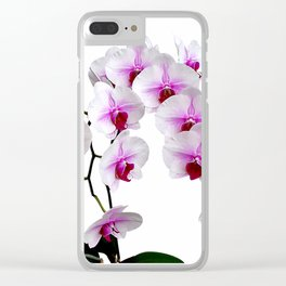 White and red Doritaenopsis orchid flowers Clear iPhone Case