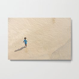 Child at the beach Metal Print